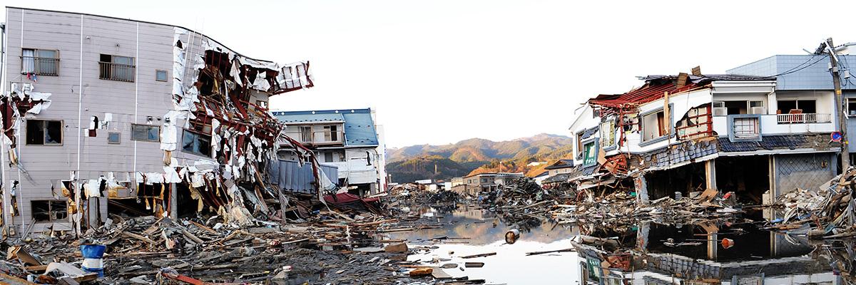 En bild på ett jordbävningsdrabbat område.